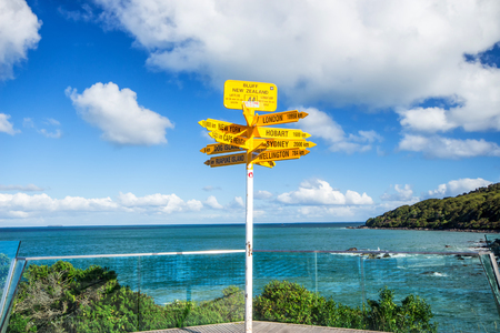 Signpost in the Stirling Point - world distances measured from the worlds southernmost signpost in Bluff of New Zealand. Stock Photo