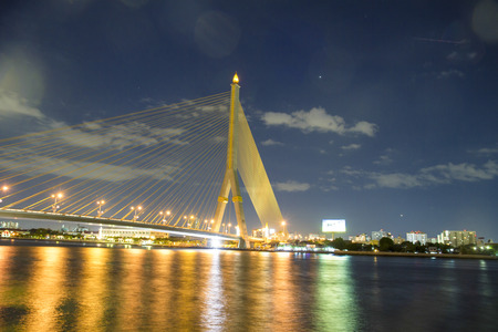 soft night thailand Rama 8 Bridge in twilight scen Stock Photo