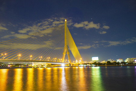 rama: soft night thailand Rama 8 Bridge in twilight scen Stock Photo