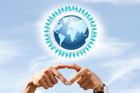 población: geografía, la población y el concepto de la paz: Día Mundial de la Población Foto de archivo