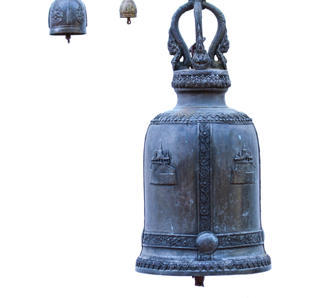 cast in place: Bell ancient on the way of the Golden mount temple, in Bangkok, Thailand Stock Photo