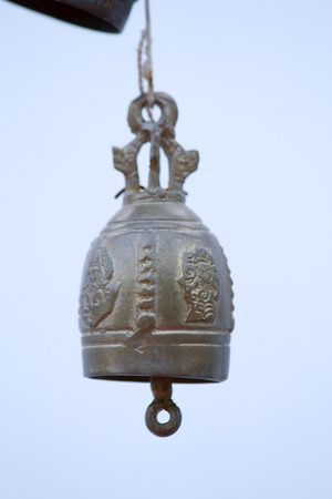 peal: Bell ancient on the way of the Golden mount temple, in Bangkok, Thailand Stock Photo