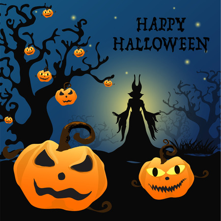 pumkin: Halloween background with silhouettes Witch and Pumpkin .Halloween Party vector.Halloween.Halloween day Illustration