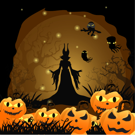 Halloween background with silhouettes Witch and Pumpkin .Halloween Party vector.Halloween.Halloween day Illustration