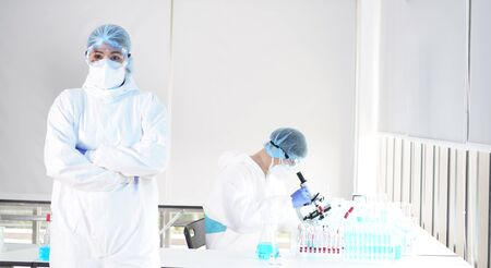 coronavirus covid 19 check, researchers are finding ways to eliminate the corona virus vaccine. Blood tests for the Covid virus research experts with test tube