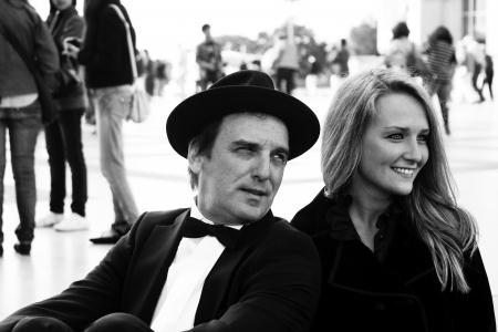 Black   White of a happy couple photo