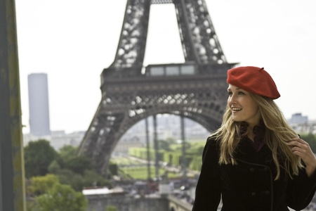 Close up female model in red hat Eiffle tower photo