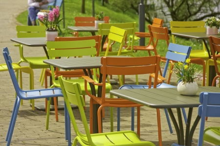 Colorful outdoor dinning Stok Fotoğraf