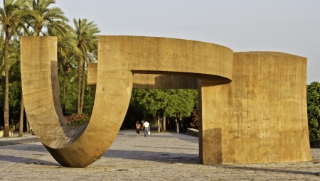 Urban architectural sculpture on the river walk in Spain