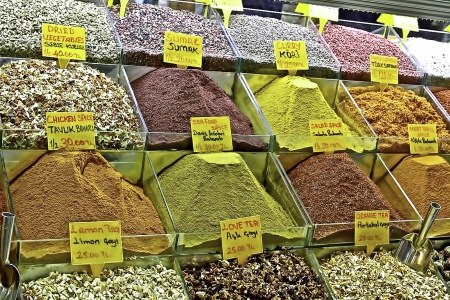 Bins full of colorful European spices Stok Fotoğraf - 14757335