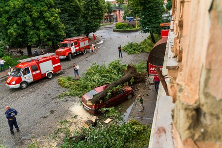 consequence: Uzhgorod, Ukraine - July 26. 2016:View from the top on the consequence of the hurricane on one of the central streets of the city. Editorial