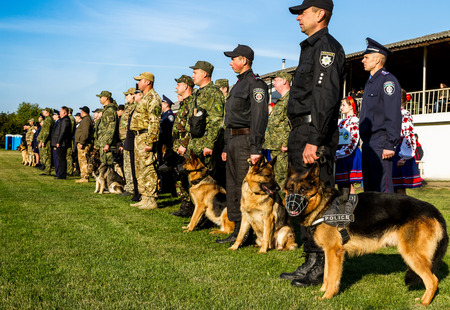 handlers: Mukachevo, Ukraine - September 27. 2016: Dog handlers with their dogs during the first championship of the National Police of Ukraine with all-around dog handlers.