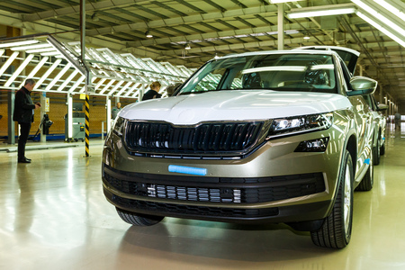 Solomonovo, Ukraine - March 9, 2017: Today, was launched a serial production of the new model Kodiaq from SKODA in the Transcarpathian plant of the Czech automaker in Slononovo.