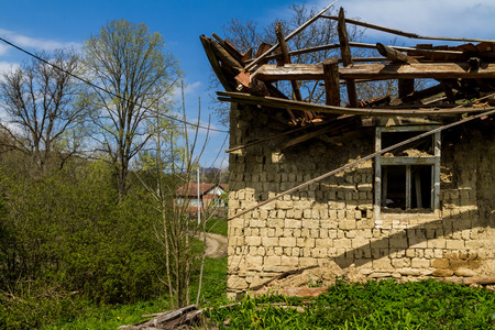Roztotska Pastil , Ukraine - April 25, 2017: Fragment of an abandoned old adobe houseon the outskirts of the village in the south-western Ukraine.