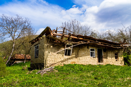 Roztotska Pastil, Ukraine - April 25, 2017: Abandoned old adobe house on the outskirts of the village in the south-western Ukraine. Editorial