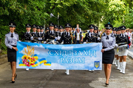 Uzhgorod, Ukraine - August 23, 2017: The ensemble of drummers of the police of Donetsk region marches during the celebration of the Day of the State Flag of Ukraine, in Uzhgorod.