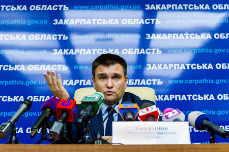 Uzhgorod, Ukraine - December 1, 2017: Minister of Foreign Affairs of Ukraine, Pavel Klimkin, answers questions from journalists during a press conference as part of a working visit to Transcarpathia.