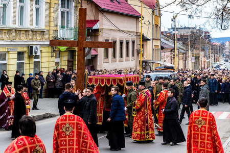 Uzhgorod, Ukraine - March 11, 2018: Procession believers during the cross march marking the Veneration of the Cross Sunday in Uzhgorod.