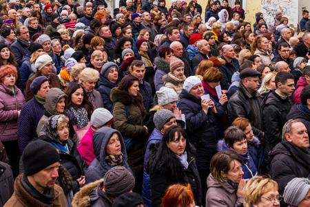 Uzhgorod, Ukraine - March 11, 2018: Procession believers during the cross march marking the Veneration of the Cross Sunday in Uzhgorod.