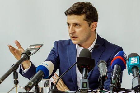 President of Ukraine Volodymyr Zelenskyy at a briefing during a working visit in Uzhgorod, Ukraine. July 6, 2019.