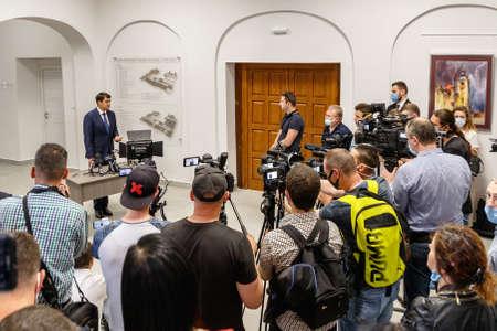 Mukachevo, western Ukraine - June 11, 2020: Speaker of the Ukrainian parliament Dmytro Razumkov (L) speaks to the press during his working visit to Mukachevo, western Ukraine.