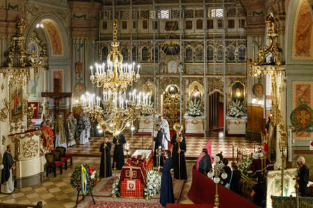 Uzhgorod, Ukraine - July 20, 2020: Priests and parishioners during the farewell ceremony for the Bishop of the Mukachevo Greek Catholic Diocese Milan Shashik in the Greek Catholic Cathedral.