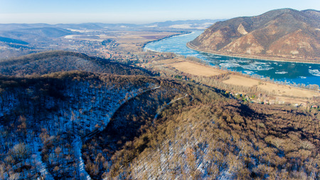 Ice drift on Danube river, Hungary, Visegrad. Aerial view hdr image Stock Photo
