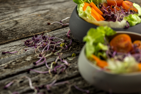 Preparing salad with radish sprouts, carott, green salad, tomato served on  an old wooden table.
