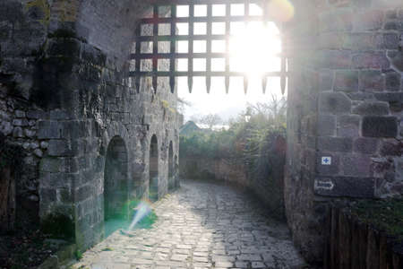visegrad: Historical old castle gate in Visegrad, Hungary Editorial
