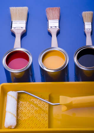 redecorate: Paint and brushes Stock Photo