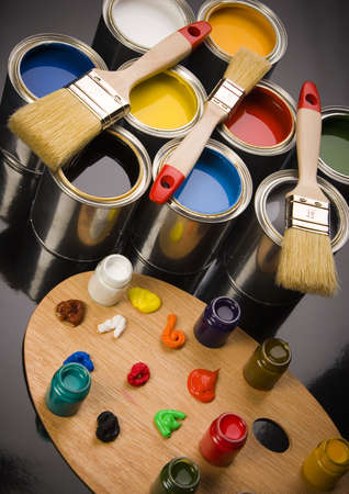 Paint brush and cans Stock Photo - 956344