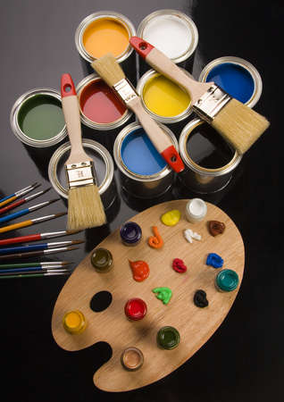 Paint brush and cans Stock Photo - 956345
