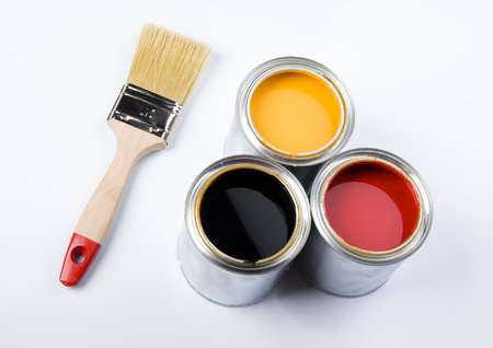 Paint brush and cans Stock Photo - 956421