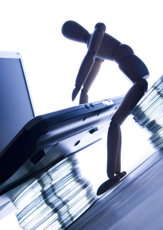 businessmans attribute: Laptop with figure