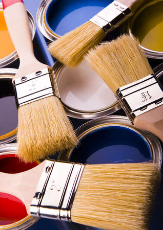 Paint brush and cans Stock Photo - 952254