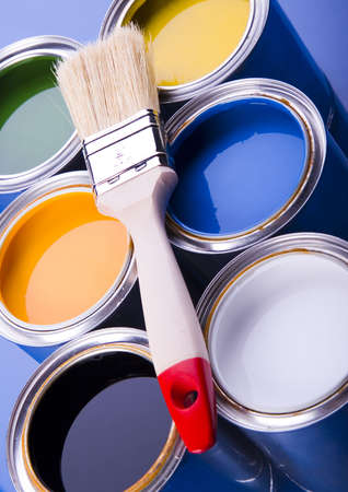 Paint brush and cans Stock Photo - 952195
