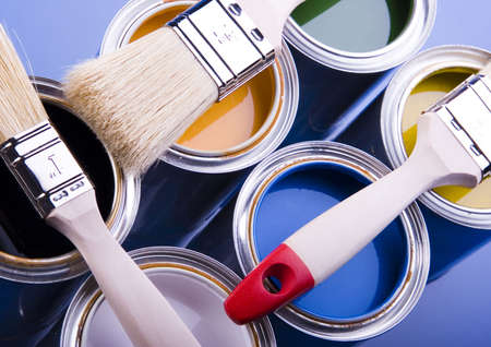 Paint brush and cans Stock Photo - 952222