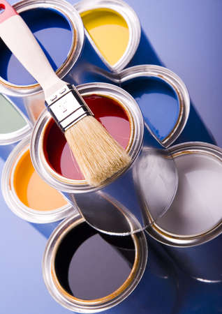 Paint brush and cans Stock Photo - 952223