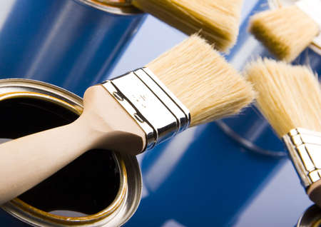 Paint brush and cans Stock Photo - 952224