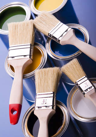 Paint brush and cans Stock Photo - 952229