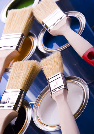 Paint brush and cans Stock Photo - 952230
