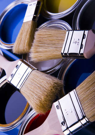 Paint brush and cans Stock Photo - 952231