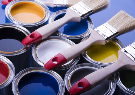 Paint brush and cans Stock Photo - 952236