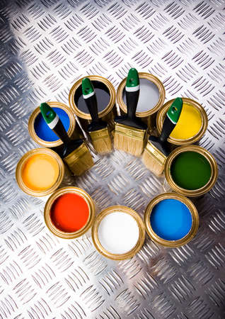 Paint brush and cans Stock Photo - 2152792