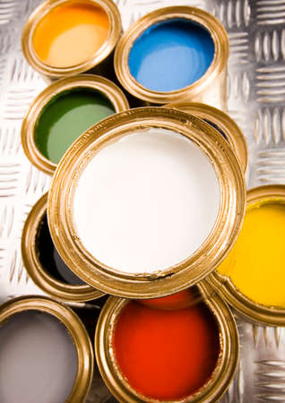 gold cans: Colorful background Archivio Fotografico