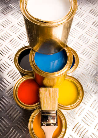 Paint and gold cans Stock Photo - 2152603