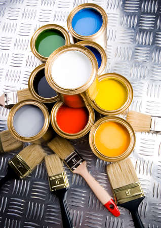 Paint and gold cans Stock Photo - 2152576