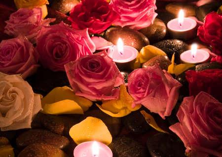 spa rocks: Spa roses Stock Photo