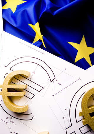 credence: Euro on the flag  Stock Photo