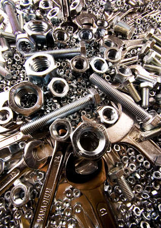 screwdriwer: Scattered spanners Stock Photo